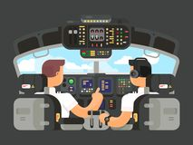 Pilots in cockpit flat design. Airplane captain, and command of plane. Vector illustration Royalty Free Stock Images