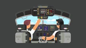 Pilots in cockpit flat design animation stock footage