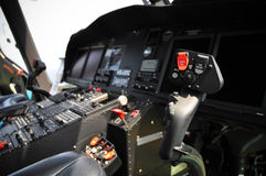 The pilots' control panel inside a passenger airplane, Control panel of airplane Stock Photo