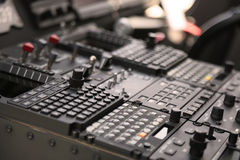 The pilots' control panel inside a passenger airplane, Control panel of airplane Stock Image