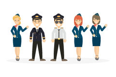 Pilots crew on white. Stock Photography