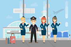 Pilots crew on white. Pilots crew on white background. Pilots wih stewardesses at the airport Royalty Free Stock Photo