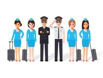 Pilots and flight attendants Royalty Free Stock Photo