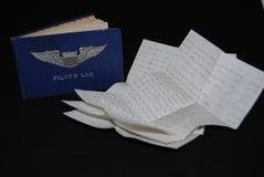 Pilots log book. A 1940's world war II Pilots log book and list of flights Stock Image