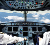 Pilots in the plane cockpit Royalty Free Stock Photography