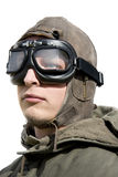 Pilots Portrait. Isolated Portrait Of A Armed Forces Fighter Pilot Royalty Free Stock Images