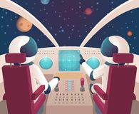 Pilots in spaceship. Shuttle cockpit with pilots in costumes vector cartoon space with planets. Illustration of rocket space cockpit interior with astronauts stock illustration