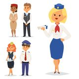 Pilots and stewardess vector illustration airline character plane personnel staff air hostess flight attendants people Stock Photos