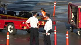 Pilots Talking While Bags Unload stock footage