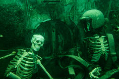 Pilots. Underwater part of car wreck Royalty Free Stock Photography