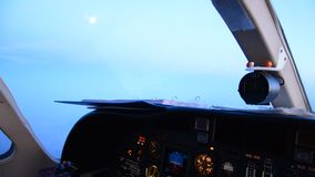 Pilots view in an airplane stock video footage