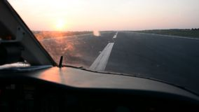 Pilots view in an airplane cockpit stock footage