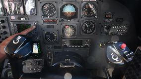 Pilots view in an airplane cockpit stock video footage