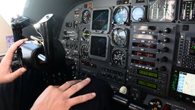 Pilots view in an airplane cockpit stock video