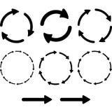 Pilpictogramen förnyar uppsättningen för tecknet för tillbakalägganderotationsöglan Enkel färgrengöringsduksymbol på vit bakgrund Arkivbilder