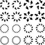 Pilpictogramen förnyar uppsättningen för tecknet för tillbakalägganderotationsöglan Enkel färgrengöringsduksymbol på vit bakgrund Arkivfoton