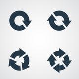Pilpictogramen förnyar uppsättningen för tecknet för tillbakalägganderotationsöglan Volym 02 Enkel svart symbol på vit bakgrund M Arkivbilder