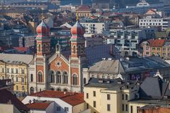 Pilsen,捷克共和国- 02/21/2018 :与伟大的synago的都市风景 免版税图库摄影
