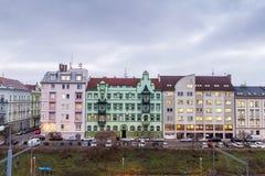 Pilsen,比尔森,捷克,欧洲五颜六色的房子  免版税库存照片