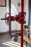 Pilsen, Czech republic - 02/21/2018: Fire tube with gate valve. On the St. Barholomew`s Cathedral Stock Photography