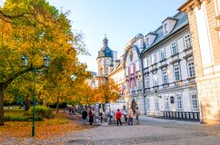 Pilsen, Czechia - Oct 28, 2019: Smetanovy sady in Plzen, Czech Republic. Outside exhibition in front of the library building.