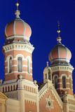 Pilsen - Great synagogue. The towers of Great synagogue in Pilsen, Czech Republic Royalty Free Stock Photo