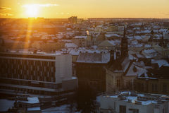 Pilsen panorama at sunset Stock Photos
