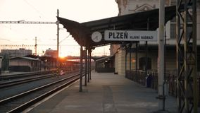Pilsen Train Station. Footage of Pilsen Train Station in Czech republic stock footage