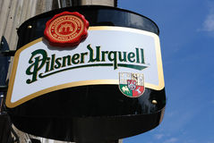 Pilsener Urquell σημάδι Στοκ φωτογραφία με δικαίωμα ελεύθερης χρήσης