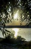 Pilsidor i solnedgångfjärdsikt royaltyfria foton