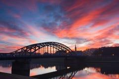 Pilsudzkibrug in de vroege ochtend, Krakau Stock Foto