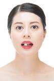 Pilule asiatique de médecine de morsure de femme de belle mode pour le tre médical Image libre de droits
