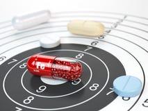 Pilule avec l'élément de ferrum de Fe de fer au centre de la cible diététique Photos libres de droits
