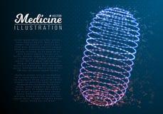Pilule de médecine de vecteur Mesh Wireframe Vector Pill illustration stock