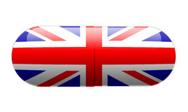 Pilule enveloppée dans une union Jack Flag Image libre de droits