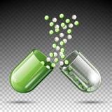 Pilule médicale ouverte de capsule de vecteur illustration stock