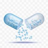 Pilule ouverte de capsule avec tomber molécules bleues dans le style réaliste illustration de vecteur