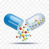 Pilule ouverte de capsule avec tomber molécules colorées dans le style réaliste d'isolement sur le fond transparent illustration libre de droits
