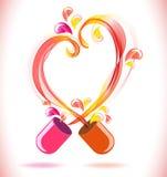 Pilule ouverte de couleur rouge avec le coeur abstrait Images stock