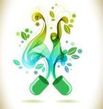 Pilule ouverte de couleur verte avec la vague abstraite Images libres de droits
