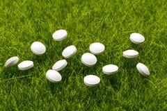 Pilules antibiotiques blanches dispersées sur l'herbe photographie stock