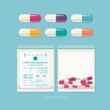 Pilules colorées et sacs zip-lock médecine - Image stock
