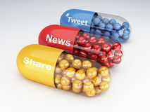 pilules 3d avec le media social illustration stock
