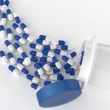 Pilules 3d se renversant hors de la bouteille de pilule Photos libres de droits