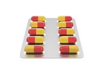 Pilules dans un habillage transparent Image stock