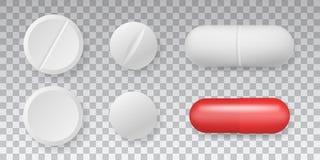 Pilules de vecteur de vue supérieure de médicaments réglées sur le fond transparent illustration libre de droits