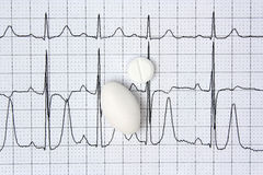 Pilules et fond d'électrocardiogramme Image libre de droits