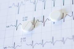 Pilules pour le point d'ébullition sur des papiers d'un électrocardiogramme Photo stock