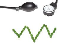 Pilules présentées sous forme de cardiogramme et de tonometer Images libres de droits
