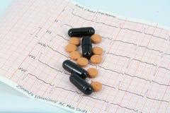 Pilules sur ECG Photos libres de droits